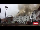 Firefighters battling to save Britain's oldest hotel after blaze tears through 250-year-old building